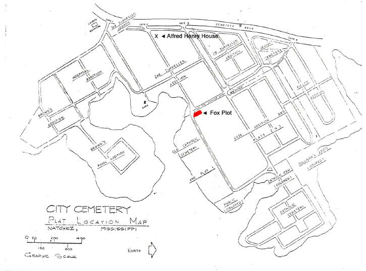 <I>Fox:</I> Map of the Fox plot at Natchez City Cemetery.  Also includes the location of Alfred Henry House grave.